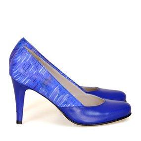 Pantofi albastru electric cu imprimeu Renata