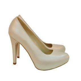 Pantofi dama bej sidef din piele naturala Darlene