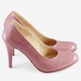 Pantofi din piele naturala lacuita roz Powder