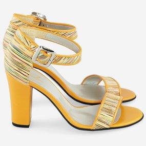 Sandale din piele naturala Yellow Stripes