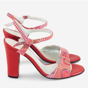 Sandale din piele rosie cu imprimeu Rossy