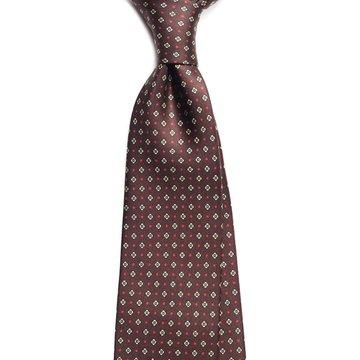 Floral silk tie - brown
