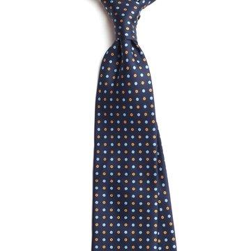 Handrolled 7-fold silk tie - navy