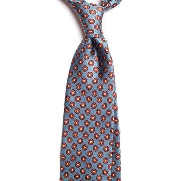 Vintage Floral Silk Tie - Blue