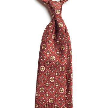 Vintage Medallion Silk Tie - Burgundy