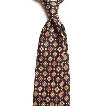 Vintage Medallion Silk Tie - Navy