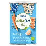 Snack cereale Nestle NaturNes BIO NutriPuffs cu morcov 35g, 10 luni+
