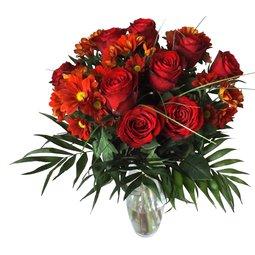 Buchet de trandafiri si crizanteme