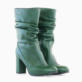 Cizme dama din piele naturala verde Artemis