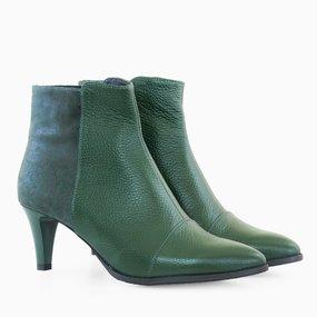 Ghete dama cu toc din piele naturala verde Cosima