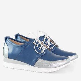 Pantofi casual din piele naturala albastra Odette