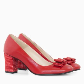 Pantofi comozi din piele naturala rosie Olivia