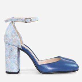 Pantofi cu toc din piele naturala albastra Antonia