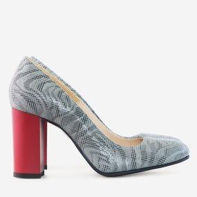 Pantofi cu toc gros din piele naturala gri cu rosu Laurel