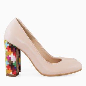 Pantofi cu toc gros din piele naturala somon Valparaiso