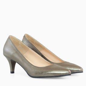 Pantofi dama cu toc comod din piele naturala bronz Odelia