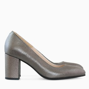 Pantofi dama cu toc comod din piele naturala bronz Rivka