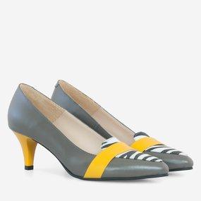 Pantofi dama cu toc comod din piele naturala gri Adeline