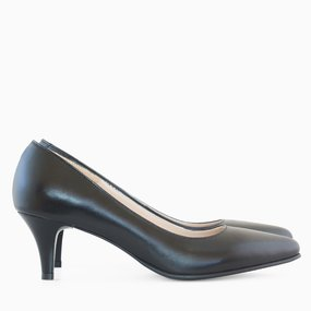 Pantofi dama cu toc comod din piele naturala neagra Madison