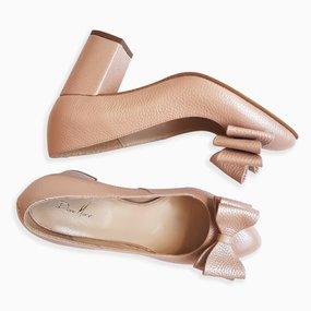 Pantofi dama cu toc comod din piele naturala roz sidef Carolyn