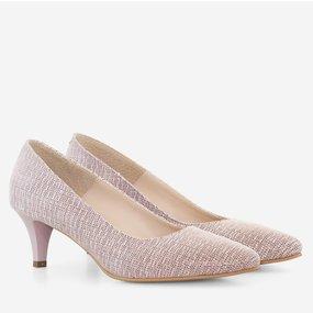Pantofi dama cu toc comod din piele naturala somon Lorna