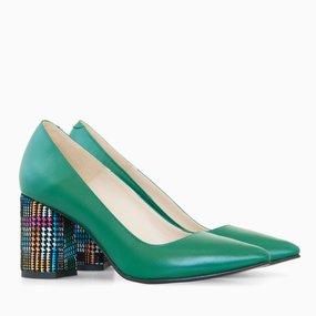 Pantofi dama cu toc comod din piele naturala verde Imma
