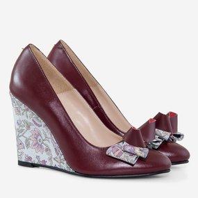 Pantofi dama cu toc ortopedic din piele naturala marsala Adine