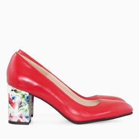Pantofi dama din piele naturala rosie Pina