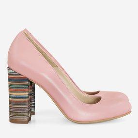 Pantofi dama din piele naturala roz Pauline