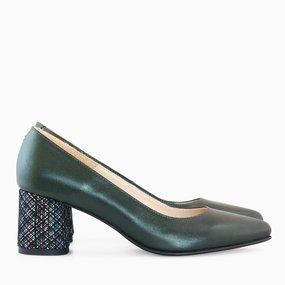 Pantofi dama din piele naturala verde sidef Louise