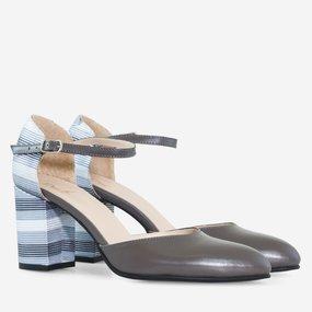 Pantofi decupati din piele naturala gri Gwen