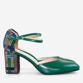 Pantofi decupati din piel naturala verde Lorelay