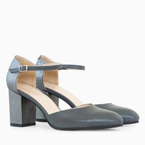 Pantofi decupati din piele naturala gri Maisie