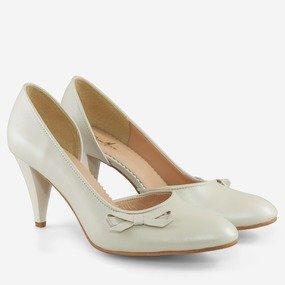 Pantofi dama bej sidefat  din piele naturala Cynthia