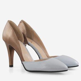 Pantofi din piele naturala cu decupaj asimetric Blue Spice