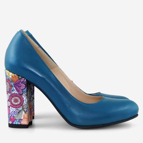 Pantofi din piele naturala cu toc gros Sarandi