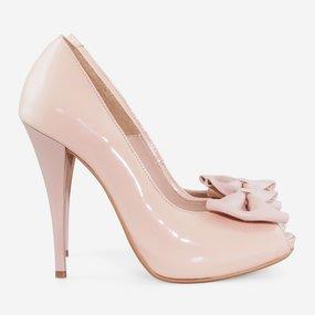 Pantofi din piele naturala lacuita nude Joanne