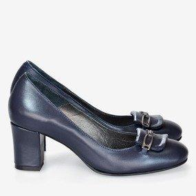 Pantofi office din piele bleumarin cu decor Alicia