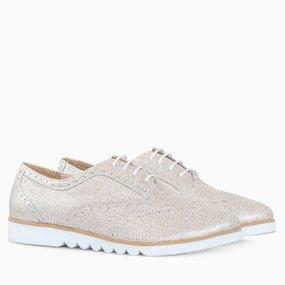 Pantofi oxford din piele naturala aurie Palila