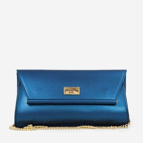 Plic de ocazie din piele naturala albastru perlat Hilton