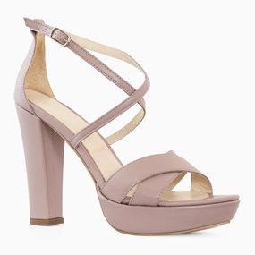 Sandale cu platforma si toc din piele naturala grej Harmoni