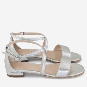 Sandale cu talpa joasa din piele naturala argintie Milani