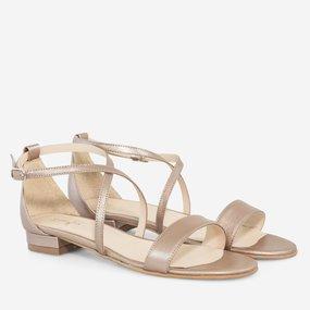 Sandale cu talpa joasa din piele naturala bronz Milani