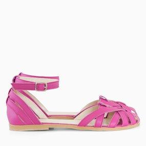 Sandale cu talpa joasa din piele naturala fuchsia Selene