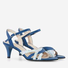 Sandale cu toc comod din piele naturala albastra April