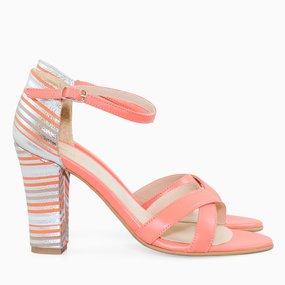 Sandale cu toc din piele naturala corai Calla