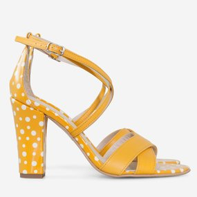 Sandale cu toc din piele naturala galbena Dots