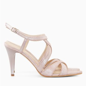 Sandale cu toc din piele naturala sampanie Adelaide
