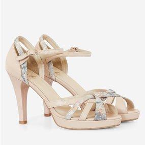 Sandale dama nude somon din piele naturala Eveline