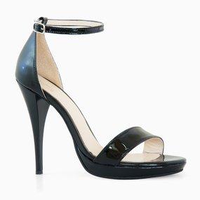 Sandale elegante din lac negru Zaria